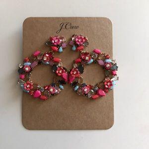 J Crew Colorful Floral Hoop Earrings